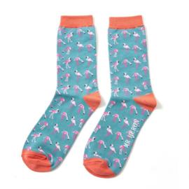 Mr Heron Wild flamingos Teal (One Size)
