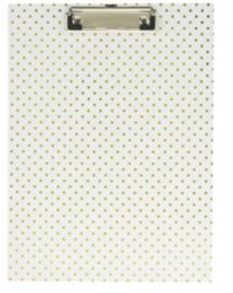 Clipboard wit met gouden stippen