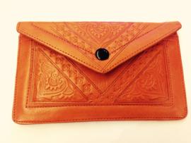 Leren portemonnee oranje