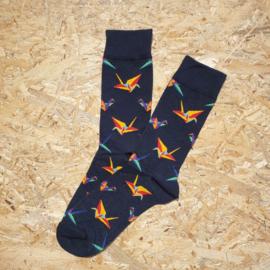 NO MORE BORING SOCKS -  Bird origami blue