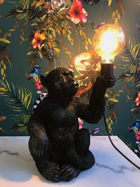 Aap lamp zittend zwart