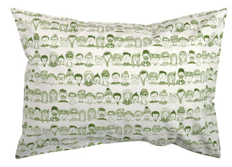 Kussenhoes gezichten groen