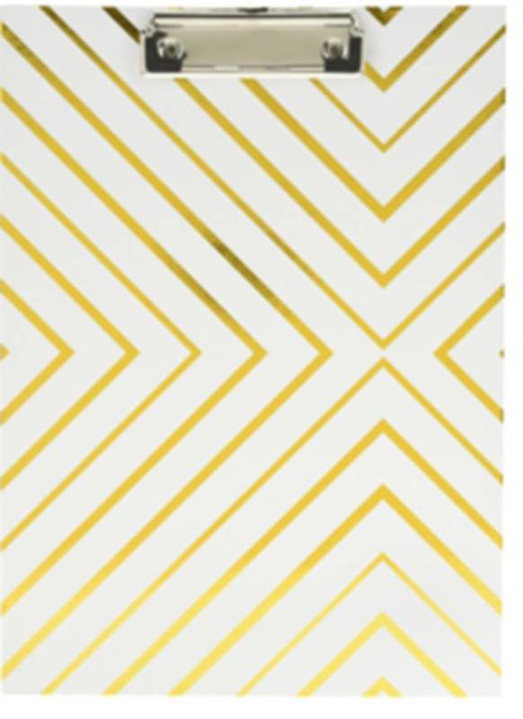 Clipboard wit met gouden strepen