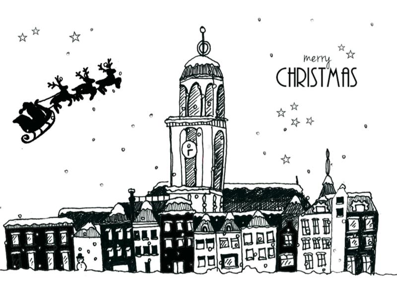 Ansichtkaart kerst Deventer