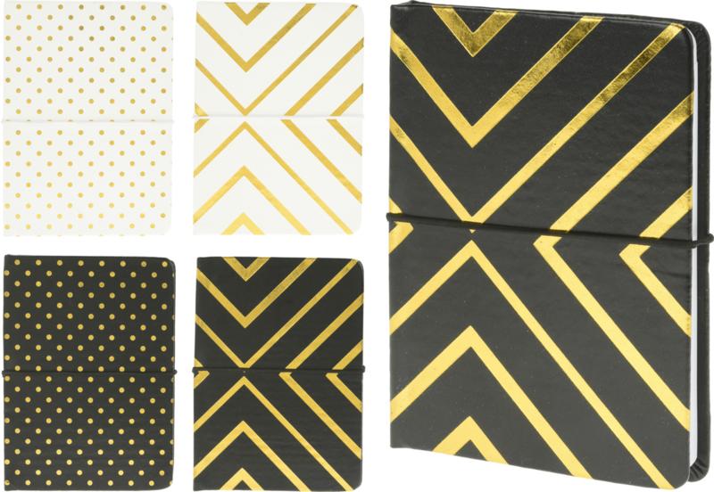 Notitieboekje zwart met gouden strepen