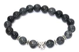 Herenarmband natuursteen Panther grijs/zwart
