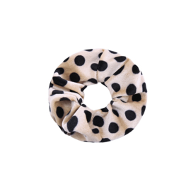 Scrunchie Velvet Dots beige