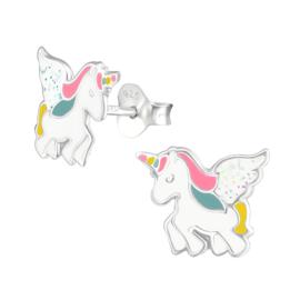 Zilveren kinderoorbellen eenhoorn vleugel