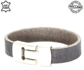 Lederen smalle heren armband - grey