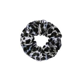 Scrunchie Sweet Leopard Velvet blauw