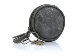 Grijs rond sleutel- / tassenhanger tasje