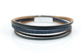 Donkergrijs elegant leren armband