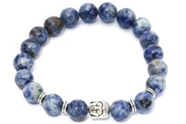 Herenarmband natuursteen Buddha - blauw