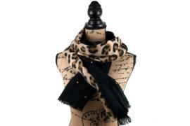 Langwerpige panter sjaal zwart