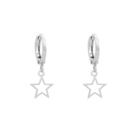 Galaxy star oorbellen zilver