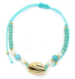 Enkelbandje Shell gold, blue