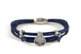 Donkerblauwe armband 6 lijns met bedel en stones