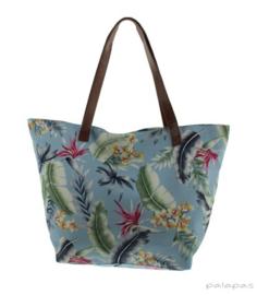 Strandtas / Shopper Tropical -  Lichtblauw