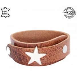 Leren overlap armband Star cognac