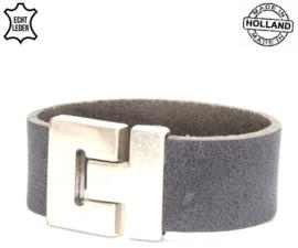 Lederen heren armband - grey