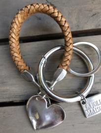 Tas-/sleutelhanger metalen hart - beige/bruin