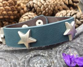 Leren armband ster, jeansblauw
