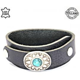 Leren overlap turquoise armband - zwart