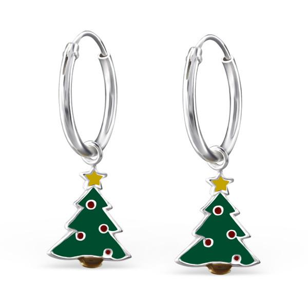 Zilveren kinderoorbellen creoolen kerstboom