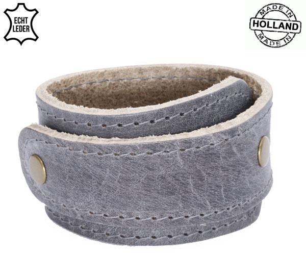 Lederen heren wikkelarmband - grey