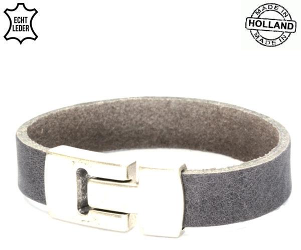 Lederen smalle heren armband - grey