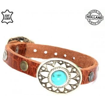 Leren turquoise gesp armband - cognac