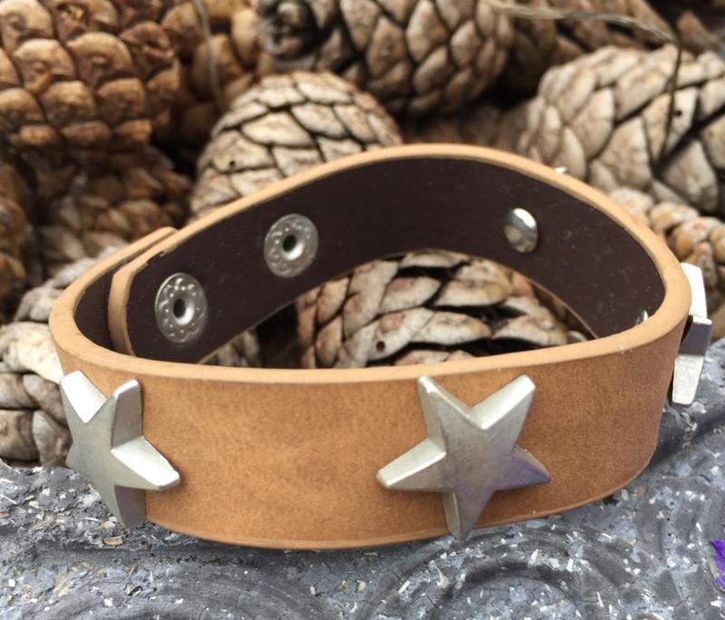 Leren armband ster, bruin