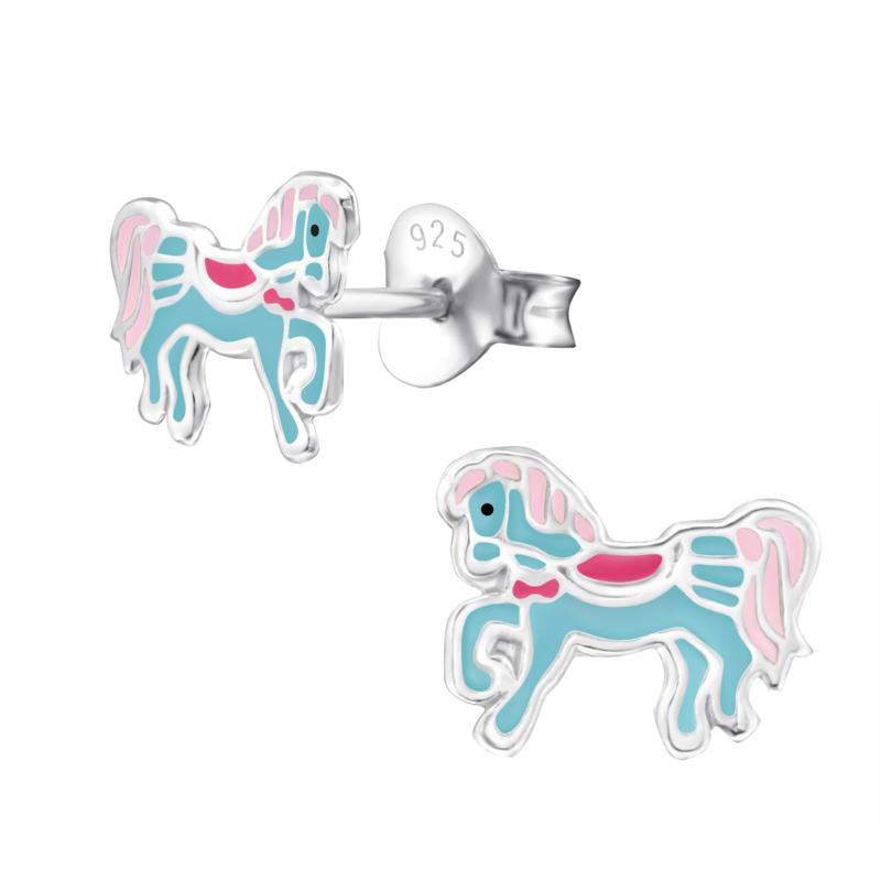 Zilveren kinderoorbellen paardje