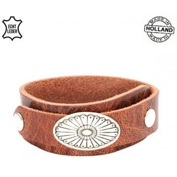 Leren overlap armband Ovaal - cognac