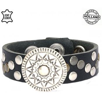 Leren armband flower black