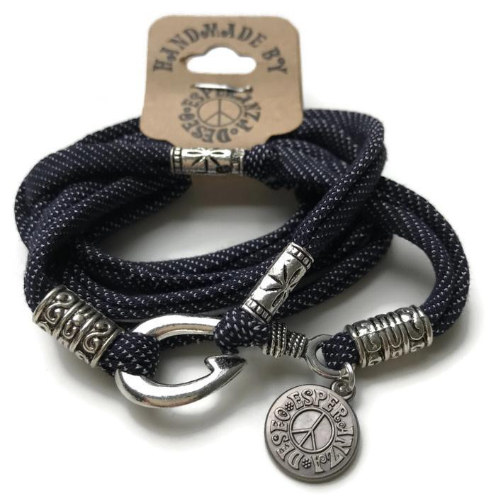 Silver hook bracelet jeans