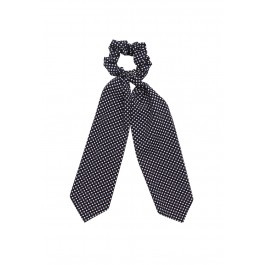 Scunchie met lint - dots print (donkerblauw)