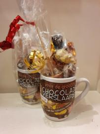 Mok gevuld met Chocolademelkstick, Marshmallows, Rovelli Chocolade