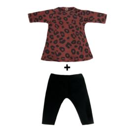 Poppenjurkje + broekje Red Leopard
