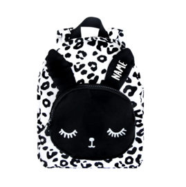 Small Bunny Backpack White Leopard Personalised