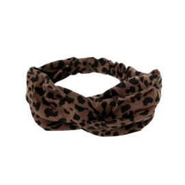 Haarband Twisted Brown Leopard