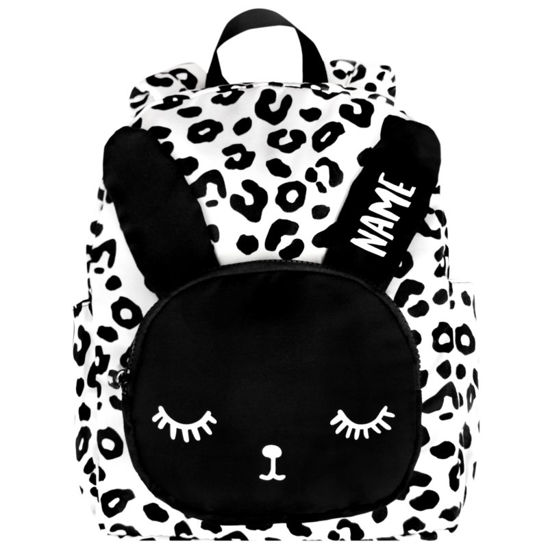 Bunny Backpack White Leopard Name Big
