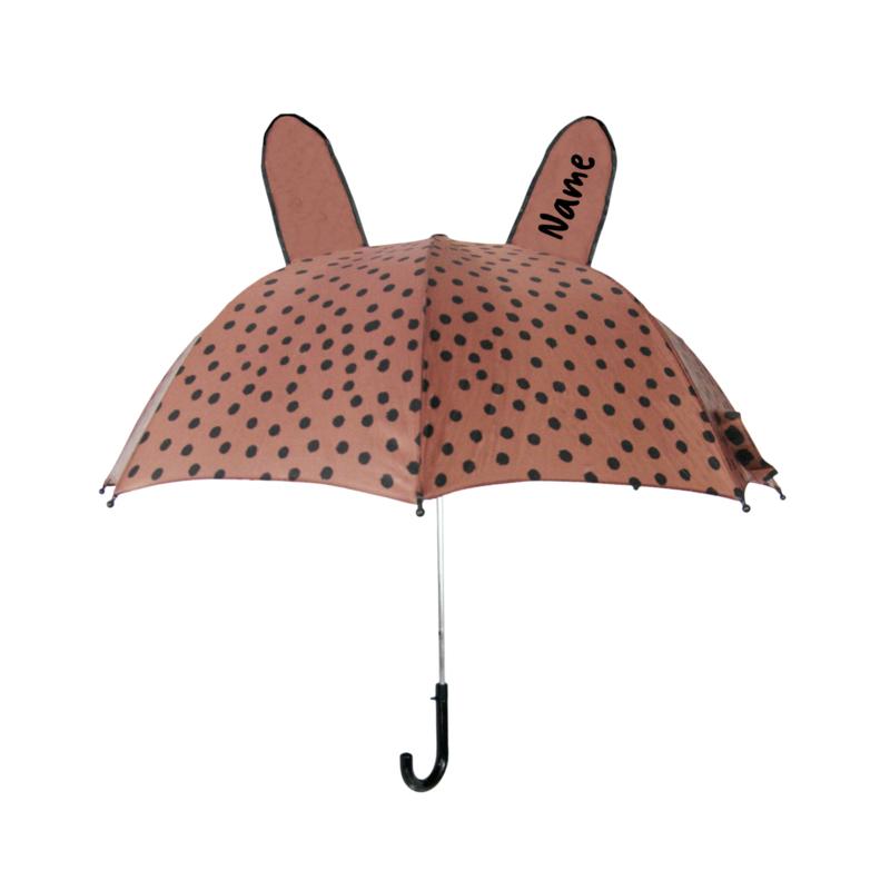 Umbrella BrownPink Dots met Naam