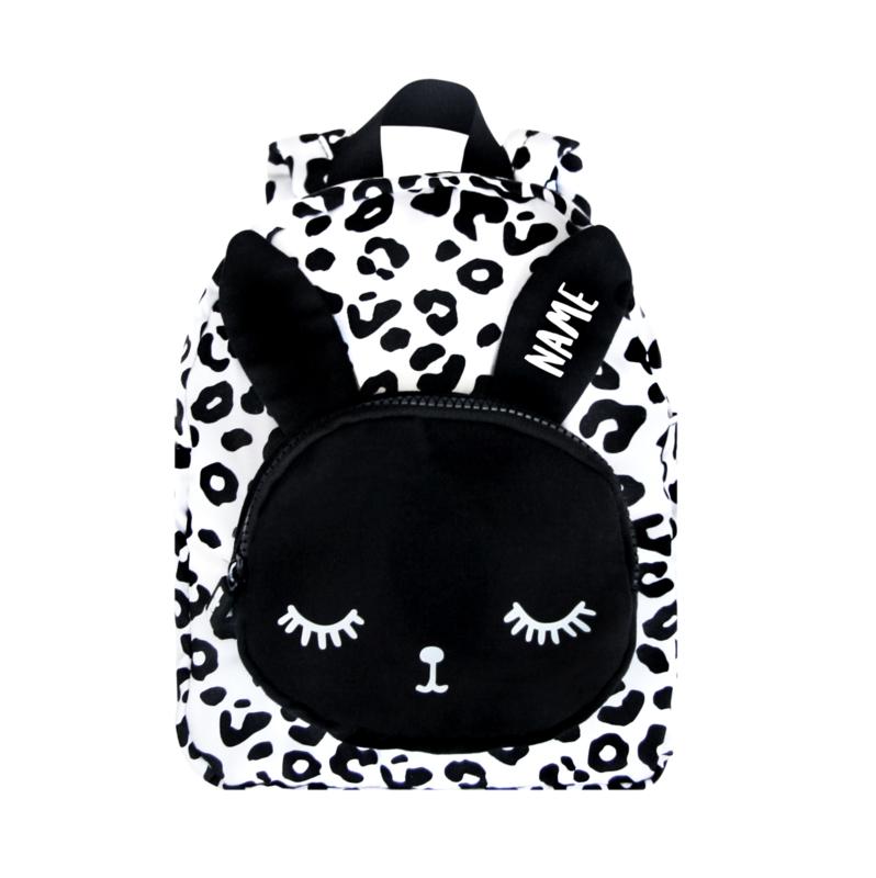Bunny Backpack White Leopard Gepersonaliseerd