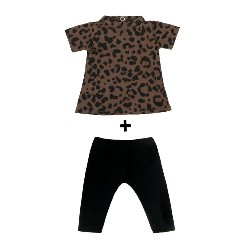 Poppenjurkje + broekje Brown Leopard KM