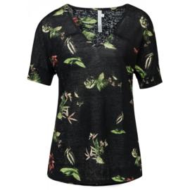 YAYA Linnen V-hals T-shirt met Wilde Dieren-Bloemen Print