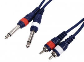 Audio Cable - 2x RCA male - 2 Mono jack 6.3mm - 3.00 meter
