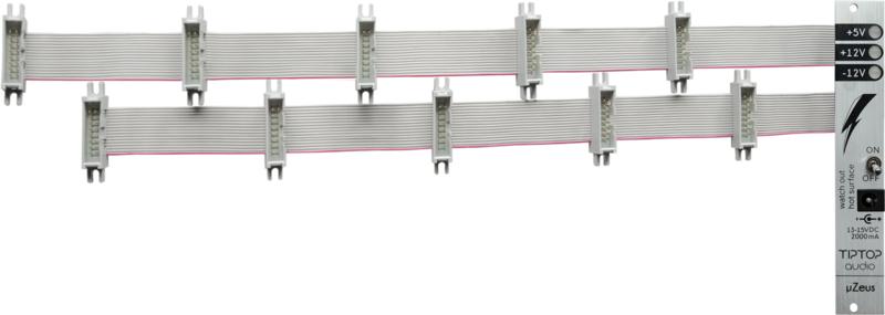 Tiptop Audio uZeus 4HP PSU with 2x Flying Bus Boards (no psu!)
