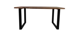 Eettafel live edge - 200x100x75 cm - Bruin/zwart - Acaciahout/ijzer