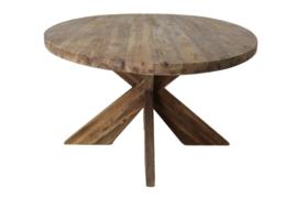 Ovale eettafel met kruispoot - 180x100 cm - vintage - teak
